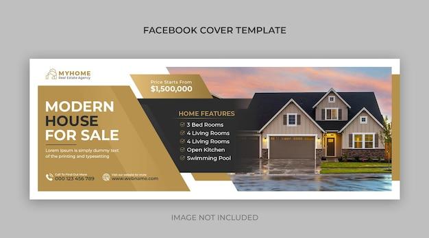 Onroerend goed huis onroerend goed verkoop horizontale banner of facebook voorbladsjabloon