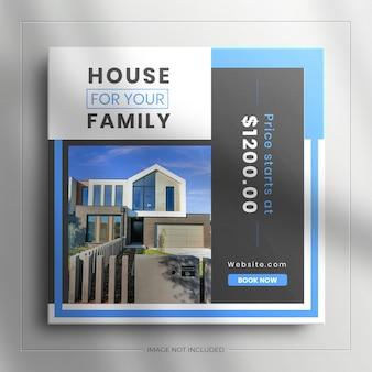 Onroerend goed huis onroerend goed vierkante sociale media verkoopbanner voor instagram-bericht met een schone mockup