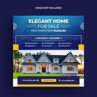 Onroerend goed huis sociale media plaatsen webbanner flyer en instagram postsjabloon