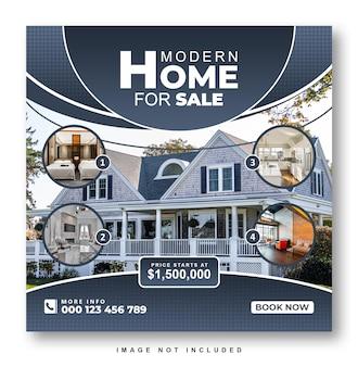 Onroerend goed huis te koop instagram post ontwerp