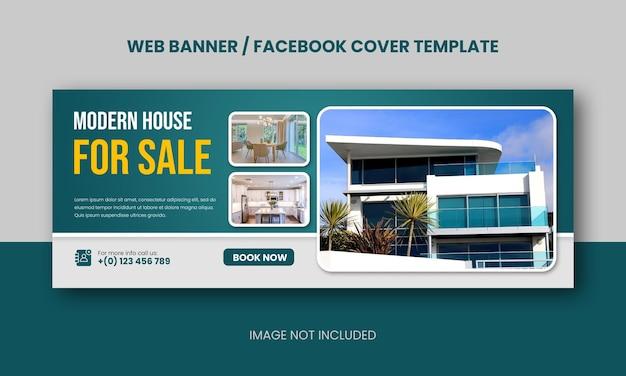 Onroerend goed modern huis dat webbanner of facebook-omslag verkoopt