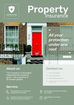 Onroerend goed verzekering poster sjabloon psd met bewerkbare tekst