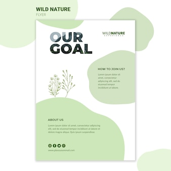Ons doel wilde natuur folder sjabloon