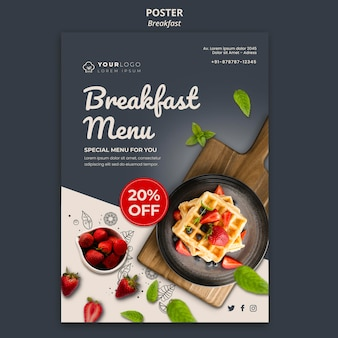 Ontbijt tijd sjabloon poster