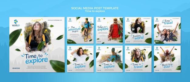 Ontdek concept sociale media postsjabloon