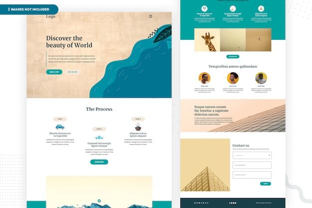 Ontdek de paginasjabloon van de wereldwebsite
