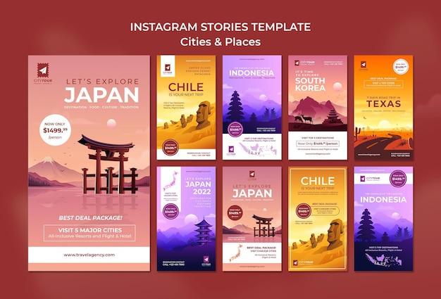 Ontdek steden instagram verhalen sjabloon