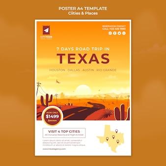 Ontdek texas poster sjabloon
