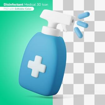 Ontsmettingsmiddel spuitfles 3d illustratie 3d pictogram bewerkbare kleur geïsoleerd