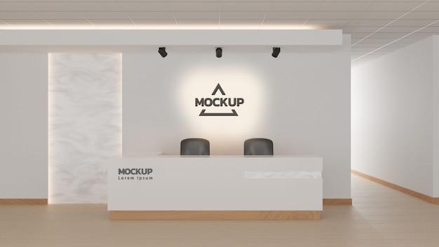 Ontvangst in een kantoor met licht marmeren wandelementen. 3d-rendering, bespotten.