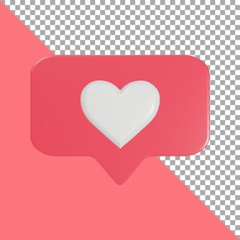 Ontwerp 3d render pictogram liefde roze uitknippad
