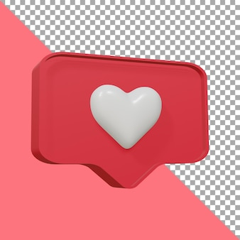 Ontwerp 3d render pictogram liefde schattig uitknippad