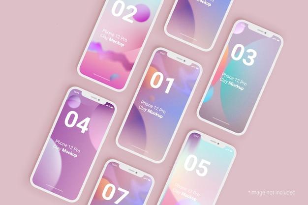 Ontwerp klei mockup voor mobiele telefoons