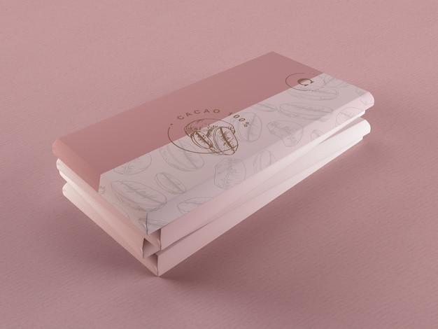 Ontwerp met papieren chocolade verpakking