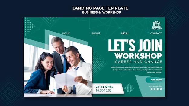 Ontwerp van bestemmingspagina voor bedrijven en workshops