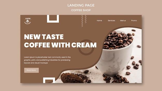 Ontwerp van de bestemmingspagina van de coffeeshop