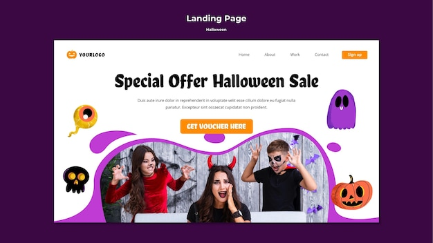 Ontwerp van de bestemmingspagina van halloween-verkoop