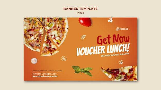 Ontwerp van de sjabloon van de banner van pizza