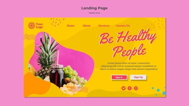 Ontwerp van de startpagina van gezond sap