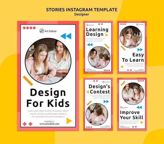 Ontwerp voor kinderen instagram verhalen sjabloon