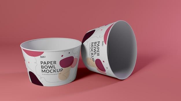 Ontwerp voor mockups met papieren kom