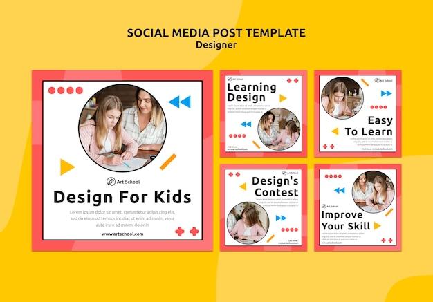 Ontwerp voor postsjabloon voor sociale media voor kinderen