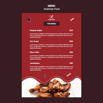 Ontwerpsjabloon menu amerikaans eten