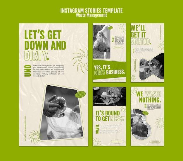 Ontwerpsjabloon voor afvalbeheer insta-verhaal