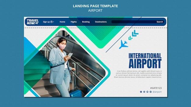 Ontwerpsjabloon voor bestemmingspagina op luchthaven