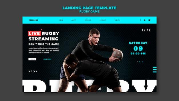 Ontwerpsjabloon voor bestemmingspagina voor rugbygames