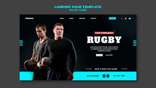Ontwerpsjabloon voor bestemmingspagina voor rugbygames Gratis Psd