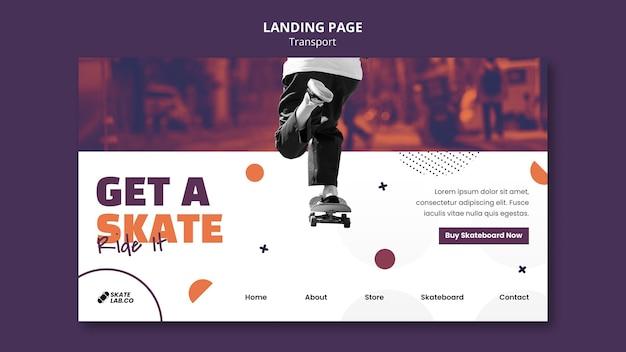 Ontwerpsjabloon voor bestemmingspagina voor skatetransport