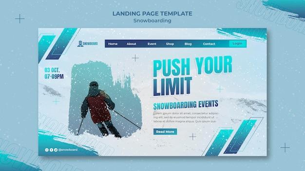 Ontwerpsjabloon voor bestemmingspagina voor snowboarden