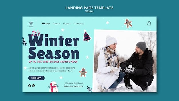 Ontwerpsjabloon voor bestemmingspagina voor winteruitverkoop
