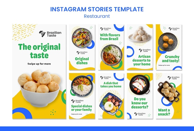 Ontwerpsjabloon voor braziliaanse voedsel-instagramverhalen