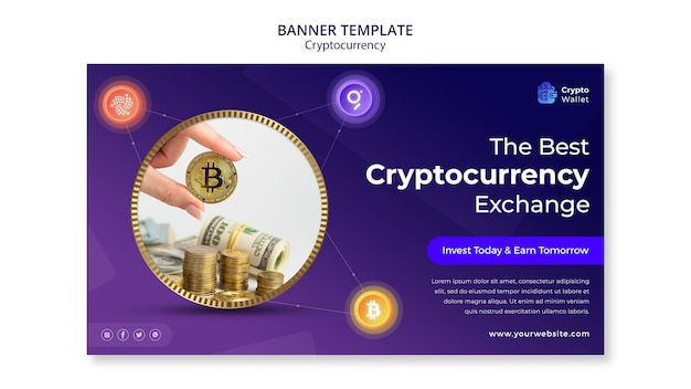 Ontwerpsjabloon voor cryptocurrency-banner
