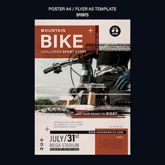 Ontwerpsjabloon voor fietssport flyer Gratis Psd