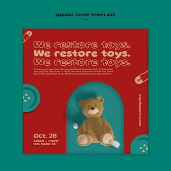 Ontwerpsjabloon voor flyers voor speelgoedrestauraties