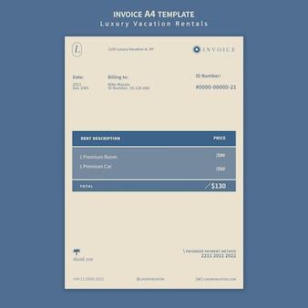 Ontwerpsjabloon voor luxe vakantieverhuur invoice