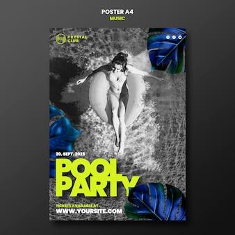 Ontwerpsjabloon voor muziekaffiche voor zwembadfeest