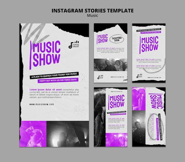 Ontwerpsjabloon voor muziekshow insta-verhaal Gratis Psd