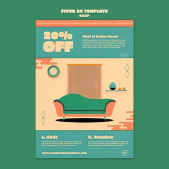 Ontwerpsjabloon voor poster voor slaapmeubilair