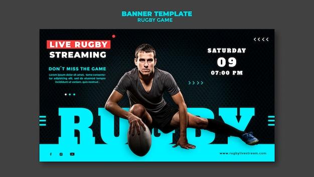 Ontwerpsjabloon voor rugbygame-banner