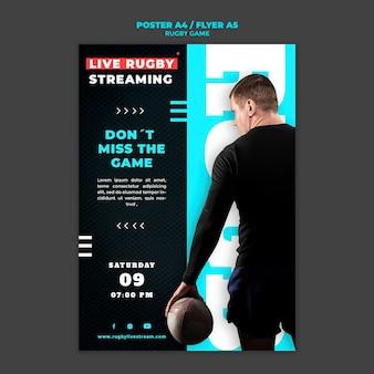 Ontwerpsjabloon voor rugbygame-posters
