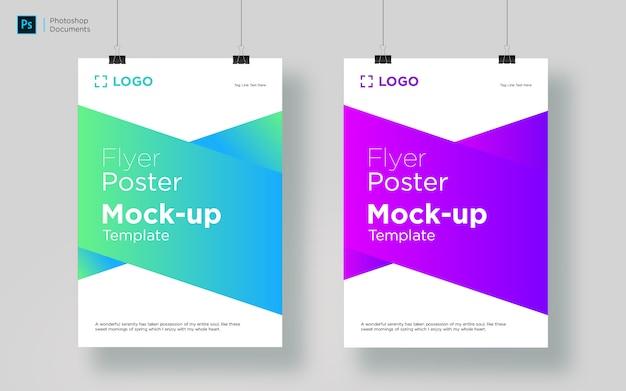 Ontwerpsjabloon voor twee folders hangende mockup