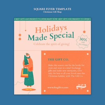 Ontwerpsjabloon voor vierkante flyer voor kerstcadeau