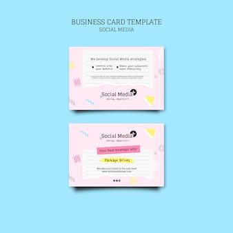 Ontwerpsjabloon voor visitekaartjes voor sociale media marketingbureau