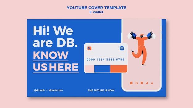 Ontwerpsjabloon voor youtube-omslag voor e-wallet