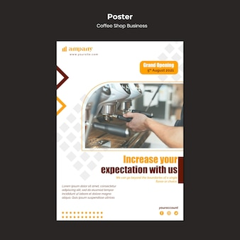 Ontwerpsjabloon voor zakelijke posters voor coffeeshops