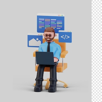 Ontwikkelaarskarakter werkt aan 3d-rendering